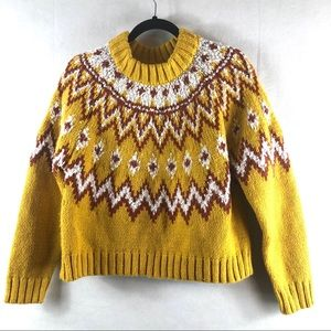 Topshop Grandpa Sweater Crop Sweater Size 4 Yellow